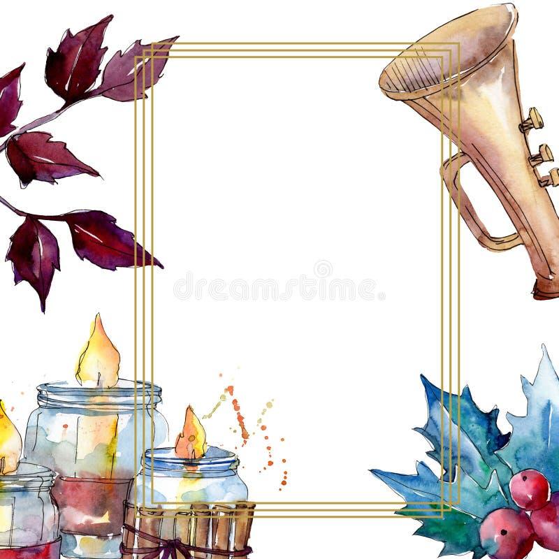 Christmas winter holiday symbol isolated. Watercolor background illustration set. Frame border ornament square. Christmas winter holiday symbol isolated. 2020 vector illustration
