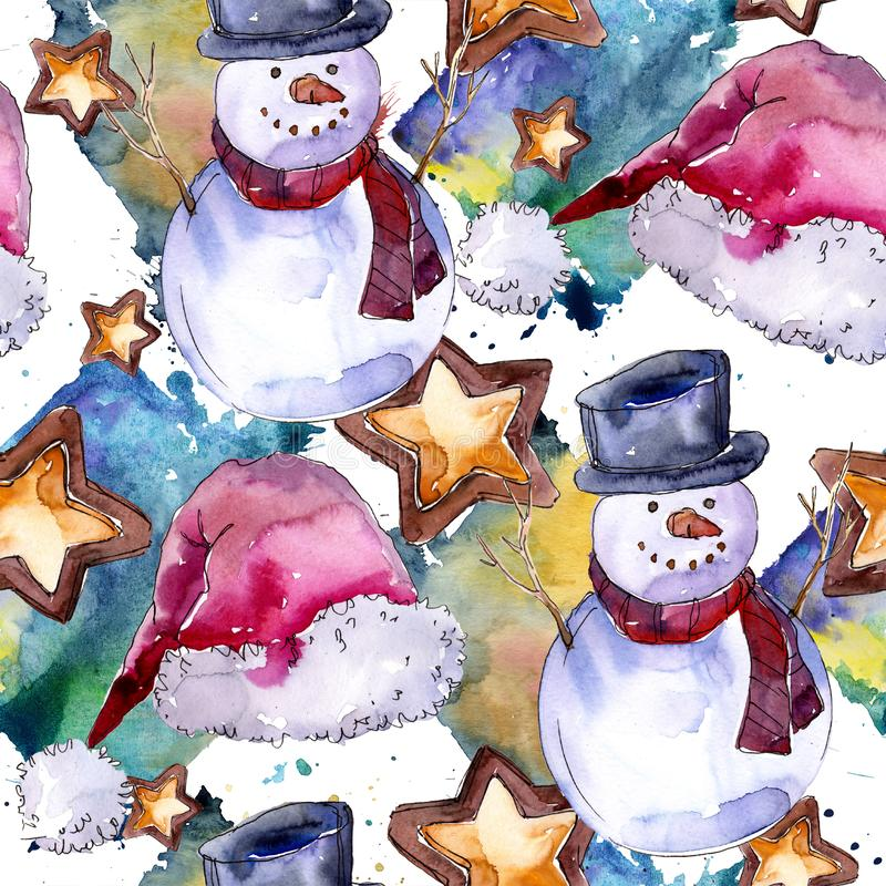 Christmas winter holiday symbol in a watercolor style. Seamless background pattern. Christmas winter holiday symbol in a watercolor style. 2018 pig year, happy royalty free illustration