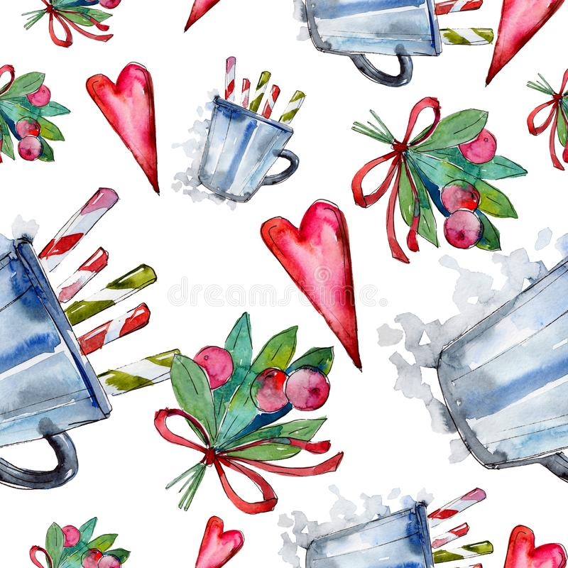 Christmas winter holiday symbol in a watercolor style. 2019 year, happy holidays. Background, texture, wrapper pattern vector illustration