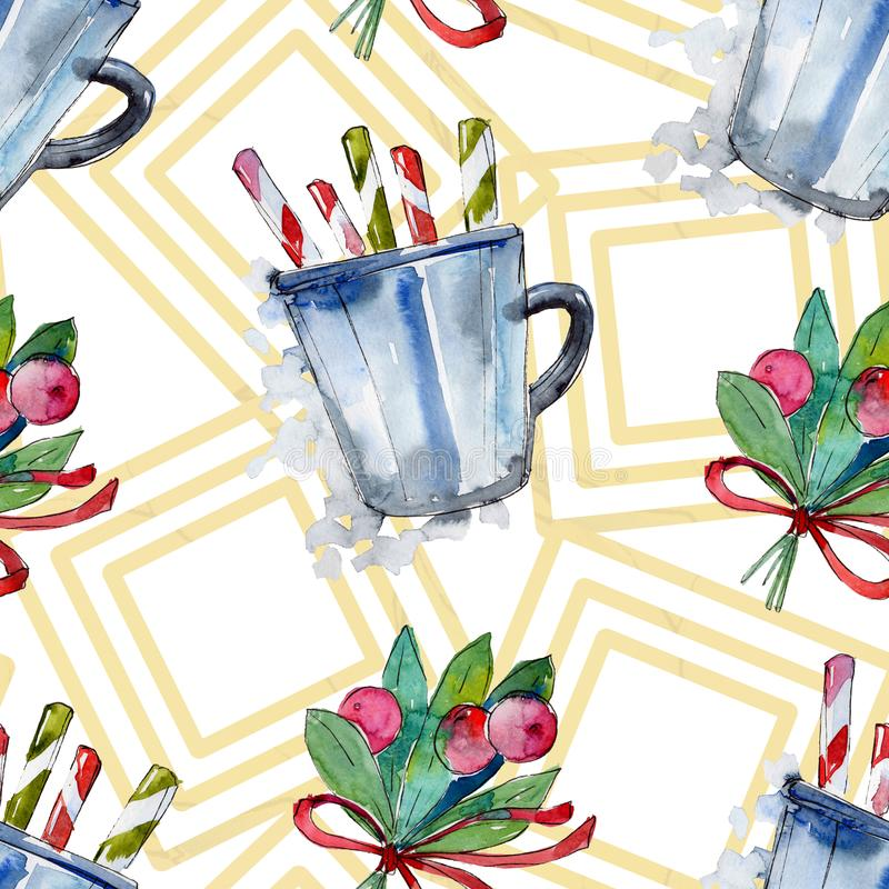 Christmas winter holiday symbol in a watercolor style. 2019 year, happy holidays. Background, texture, wrapper pattern royalty free illustration
