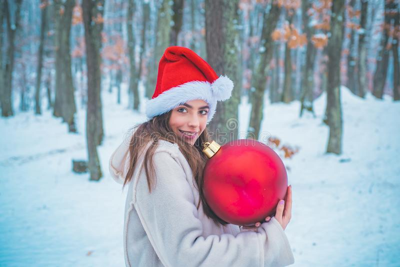 Christmas winter holidays concept. Young woman winter portrait. Winter concept. Beautiful young woman laughing outdoors royalty free stock images