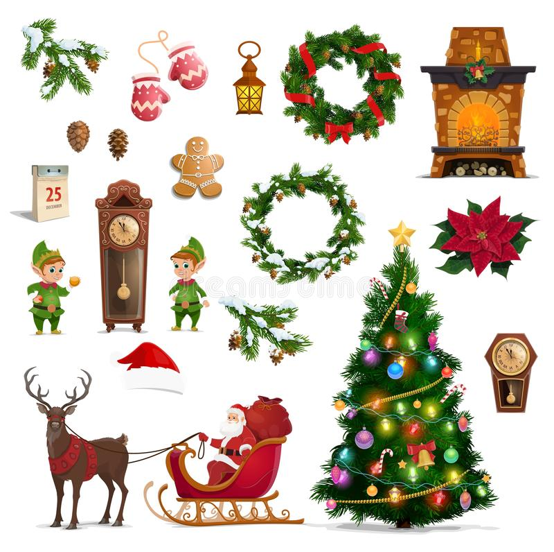 Christmas winter holidays icons with Santa gifts. Christmas and New Year vector symbols of winter holidays. Santa, gifts and Xmas tree with bells, candy and royalty free illustration