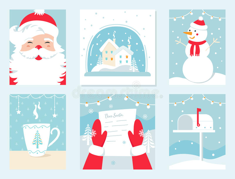 Christmas and Winter Holidays Vector Cards. Santa Claus, Snow Globe, Snowman, Letter to Santa and Mailbox. royalty free illustration