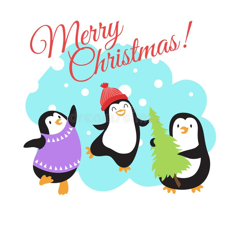 Christmas winter holidays vector greeting card with cute cartoon penguins stock illustration