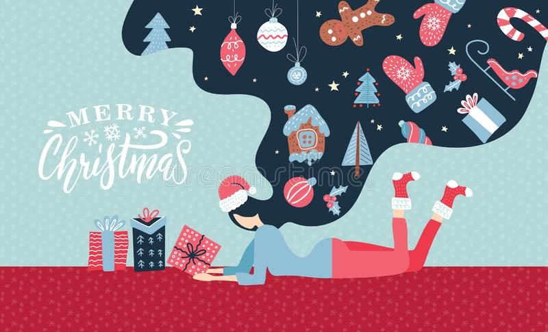 Christmas Winter illustration with cute young woman with long hair. Trendy retro style greeting catd with xmas elements. Vector. Design template royalty free illustration