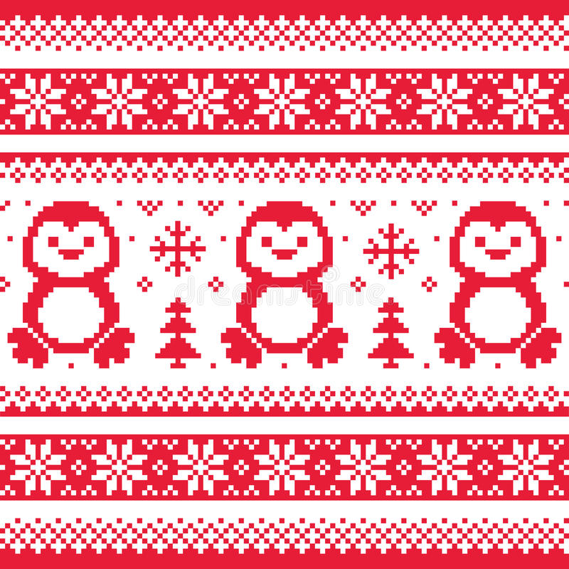 Christmas, Winter Knitted Pattern With Penguins - Scandinavian Sweater Style Stock Vector