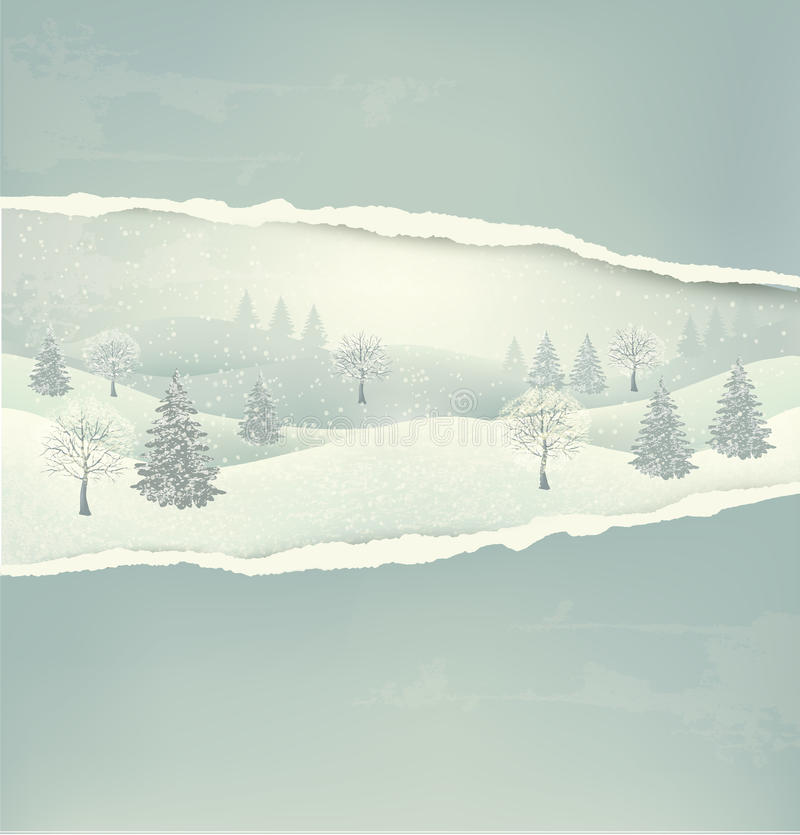 Christmas winter landscape background with ripped royalty free illustration