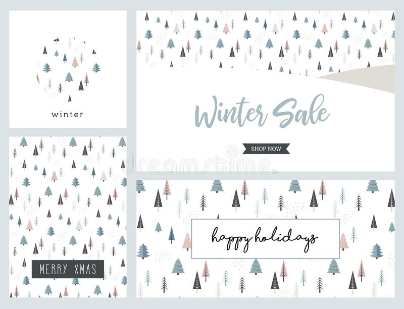 Christmas winter landscape greeting card and banner set. christmas sale. Abstract Vector. Christmas winter landscape background. christmas sale. christmas sale