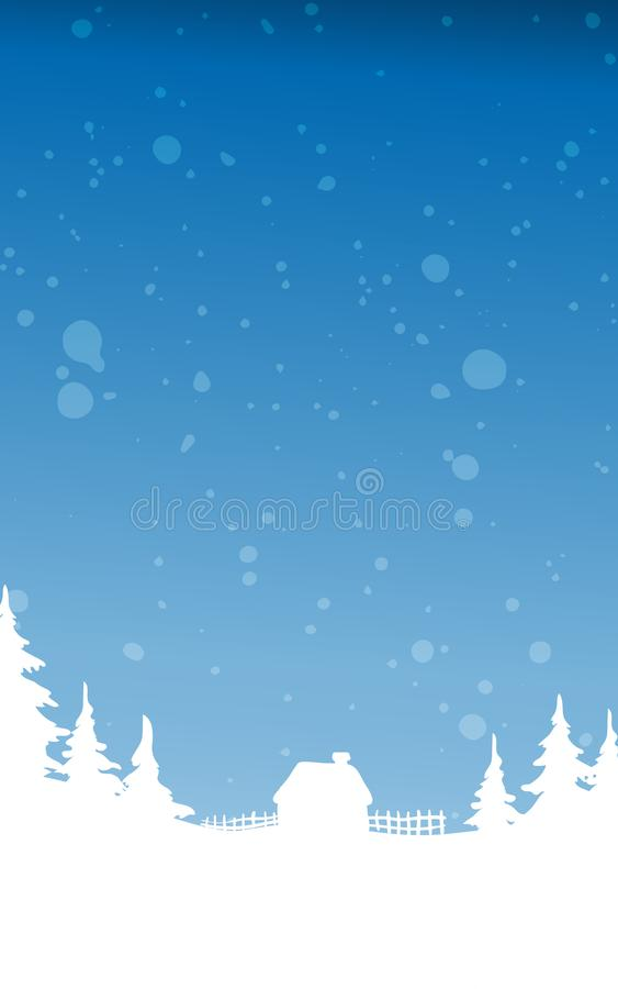 Christmas winter landscape background. Vector background illustration. With snowfall and winter wood royalty free illustration