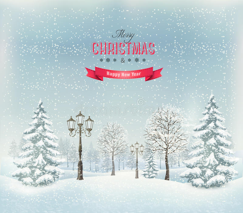 Christmas winter landscape with lampposts. vector illustration