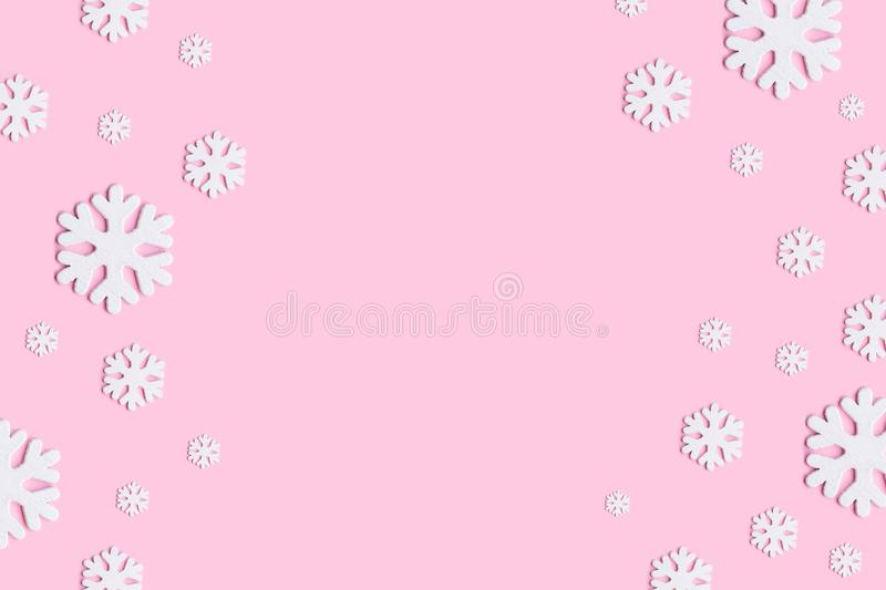 christmas winter new year concept winter composition snowflakes pastel pink background flat lay top view christmas wallpaper 156730100