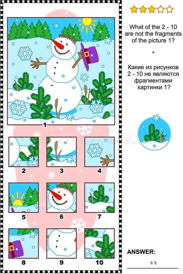 Christmas, winter or New Year picture riddle with snowman - what does not belong? vector illustration