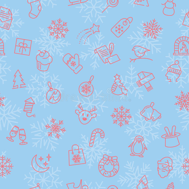 Christmas winter pattern. Seamless pattern with Christmas thin line elements and objects vector illustration