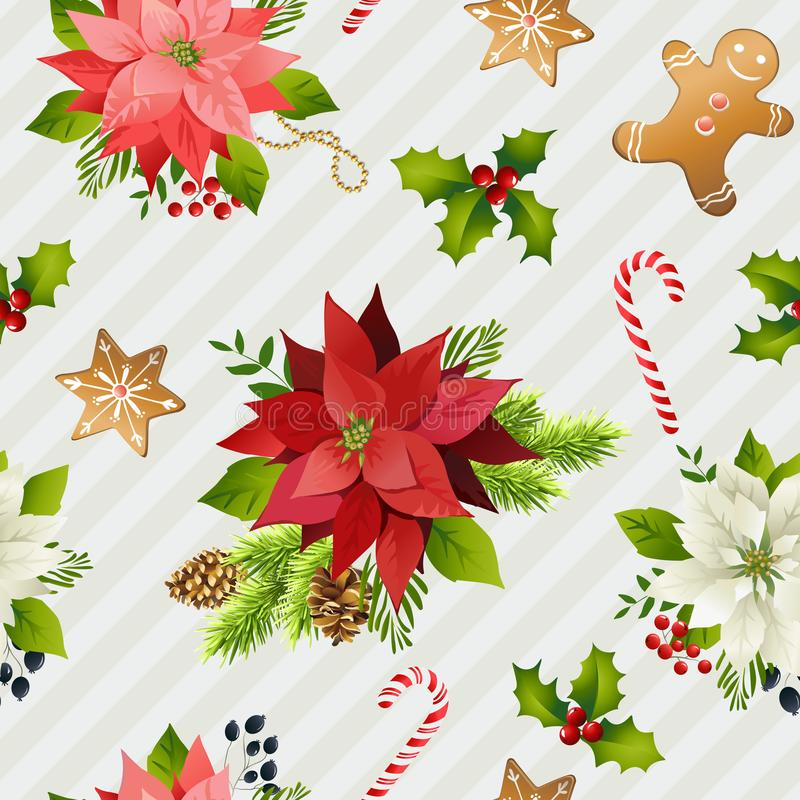 Christmas Winter Poinsettia Flowers Seamless Background, Floral Pattern Print in vector. royalty free illustration