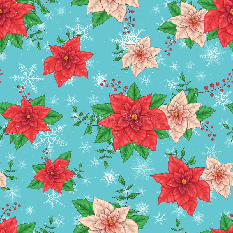Christmas Winter Poinsettia Flowers Seamless Background, Floral Pattern Print in vector stock illustration