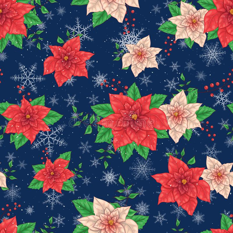 Christmas Winter Poinsettia Flowers Seamless pattern, Floral Pattern Print in vector stock illustration
