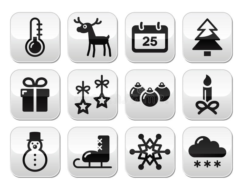 Christmas, Winter Red And Green Snowflakes  Icons Set Royalty Free Stock Photos