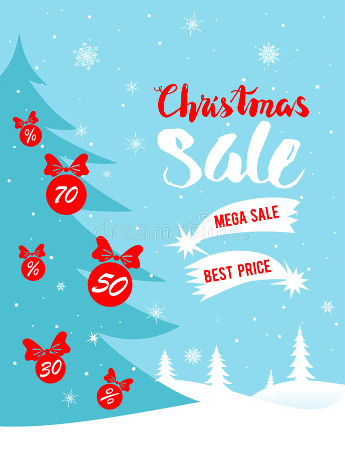 Christmas winter sale poster. Big Christmas sale. Seasonal sale background for banners, advertising, leaflet, cards, invitation and so on stock illustration