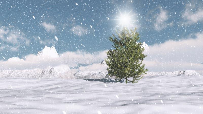 Christmas winter scene vector illustration