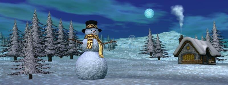 Christmas winter scenic - 3D render royalty free illustration