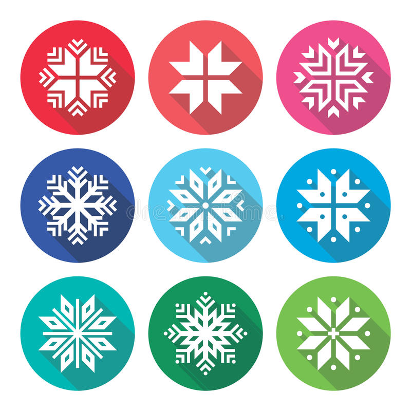 christmas  winter snowflakes flat design icons set stock illustration