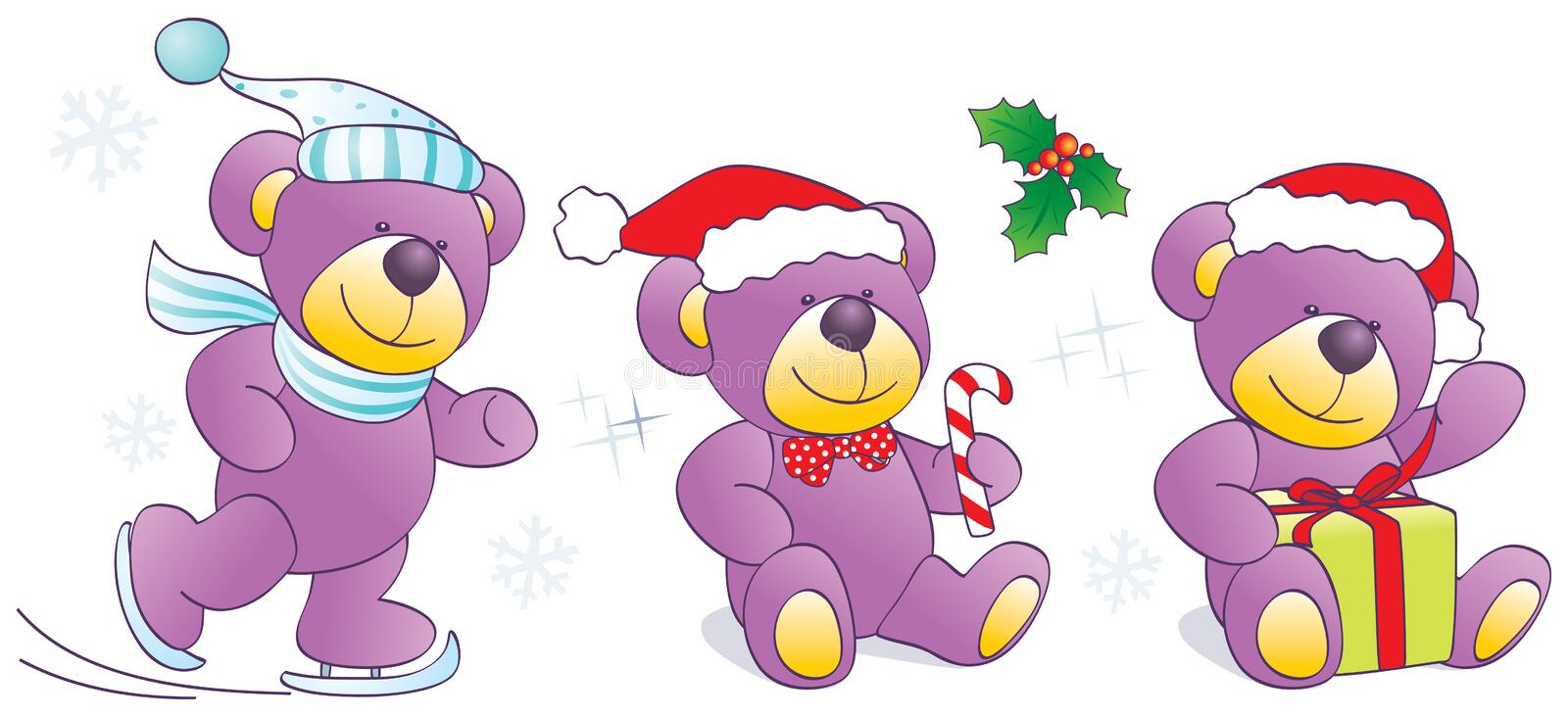 Download Christmas, Winter Teddy Bears With Skates, Candy, Stock Photos - Image: 22303683