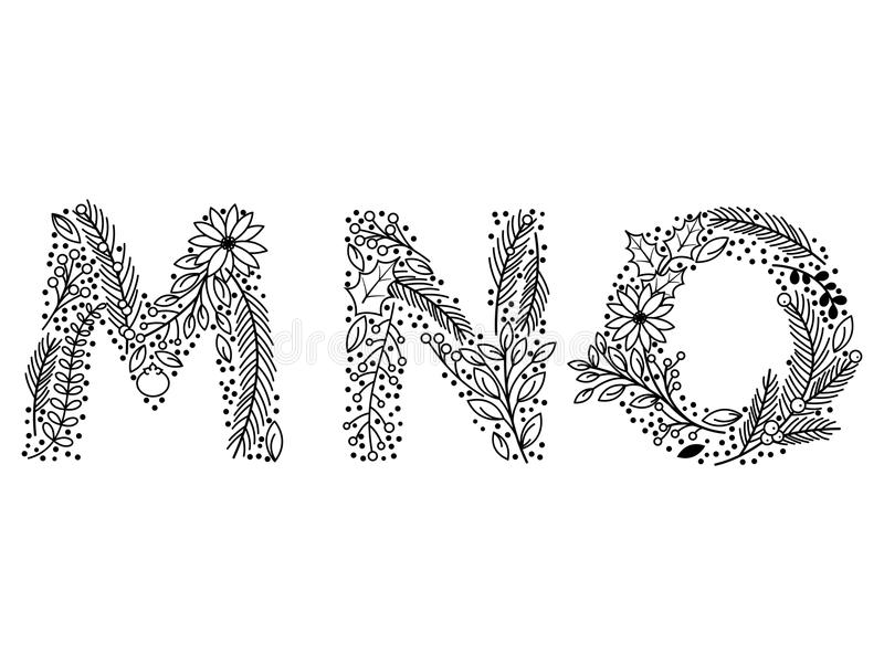 Christmas or Winter Themed Floral Alphabet in Line Art Style. Vector vector illustration