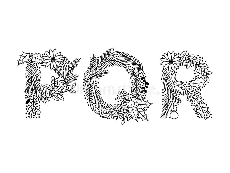Christmas or Winter Themed Floral Alphabet in Line Art Style. Vector stock illustration