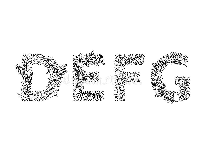 Christmas or Winter Themed Floral Alphabet in Line Art Style. Vector royalty free illustration