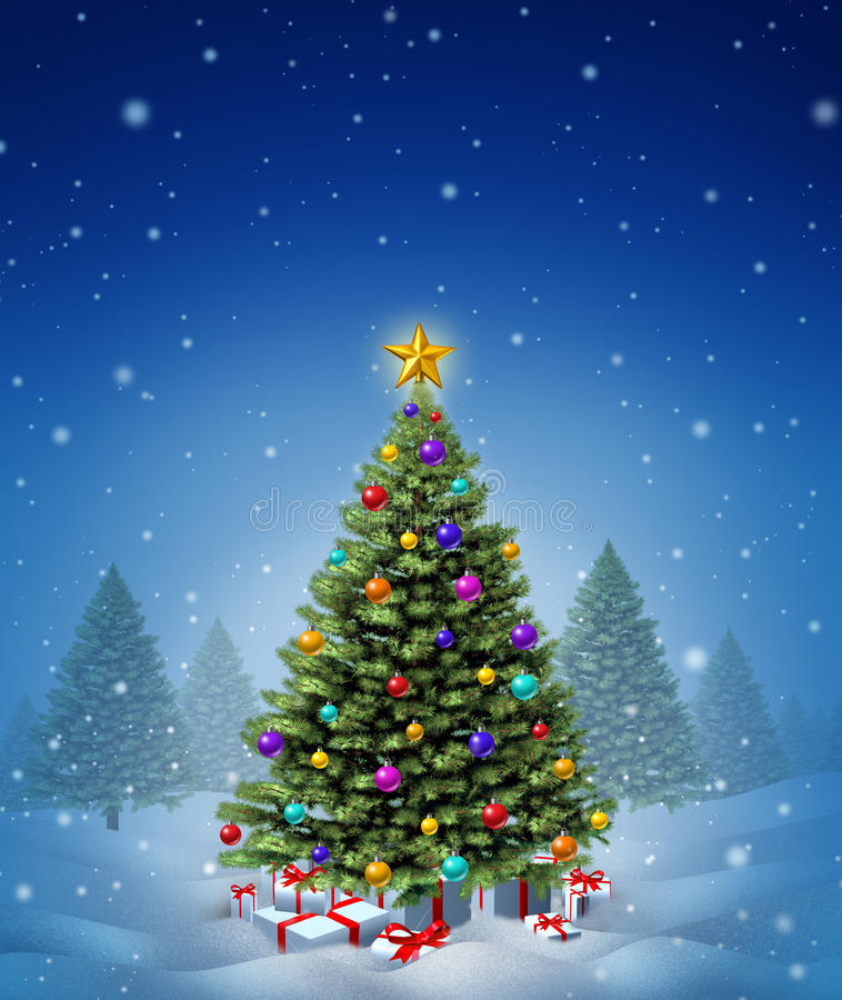 Christmas Winter Tree Stock Image