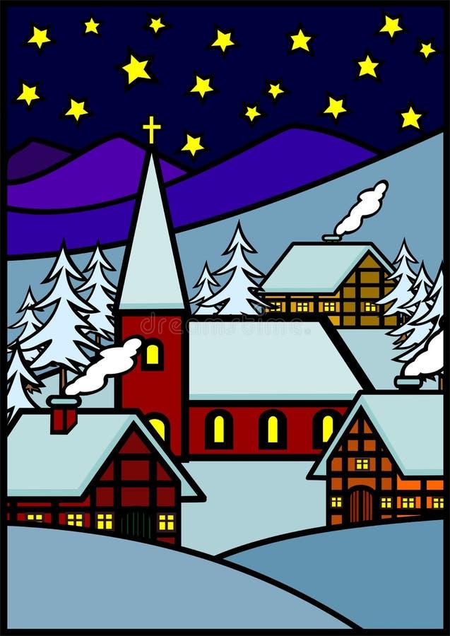 Christmas winter village stock illustration