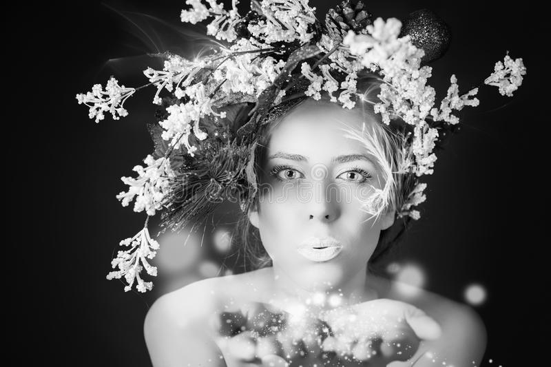 Christmas winter woman with tree hairstyle and makeup, magical fairy. Black and white image of christmas winter woman with tree hairstyle and makeup for holiday royalty free stock photos