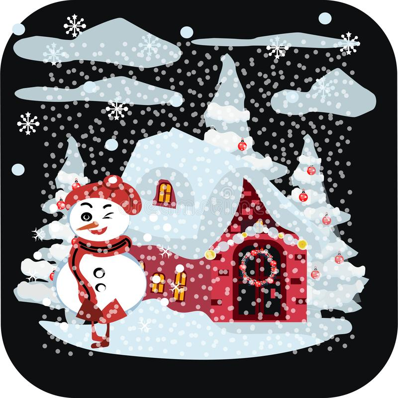 Christmas winter wonderland template. Christmas background with fairy tale house and forest in snowfall. Vector stock illustration
