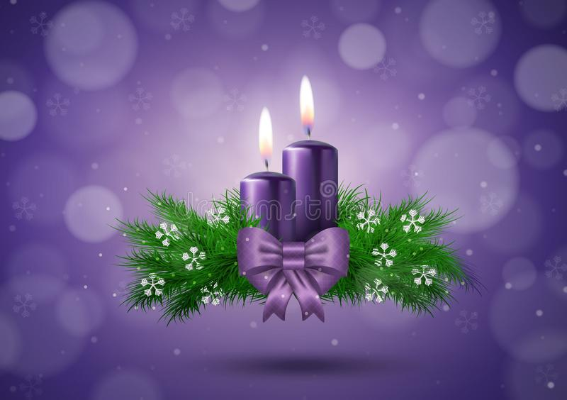 Christmas wish card with candles in purple vector royalty free illustration
