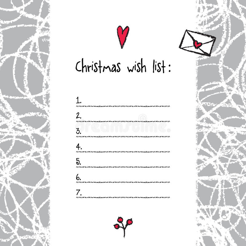 Download Christmas Wish List Template. Hand Drawn Elements. Printable Des  Stock Vector   Illustration  Printable Christmas Wish List Template