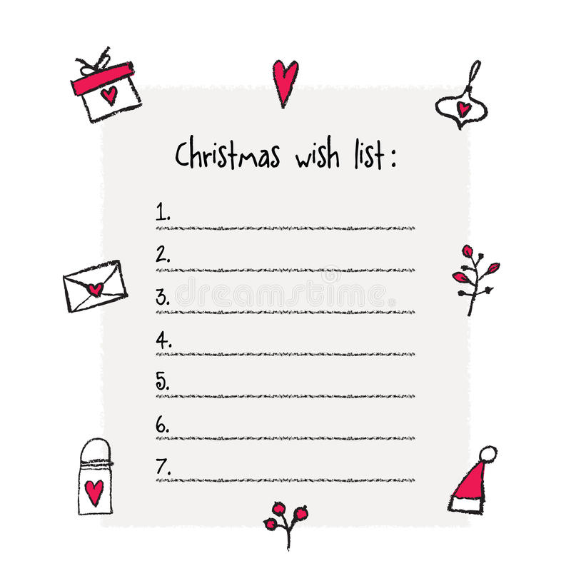 Superb Christmas Wish List Template. Hand Drawn Elements. Printable Design.