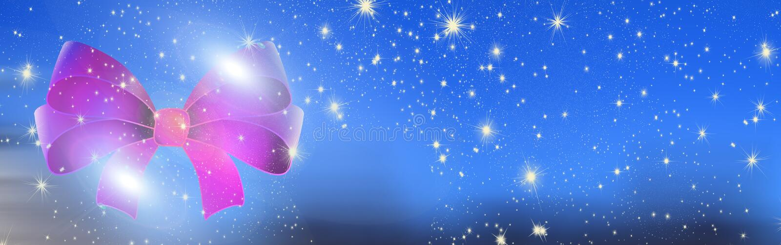 Christmas wishes, bow with stars, background royalty free stock photo