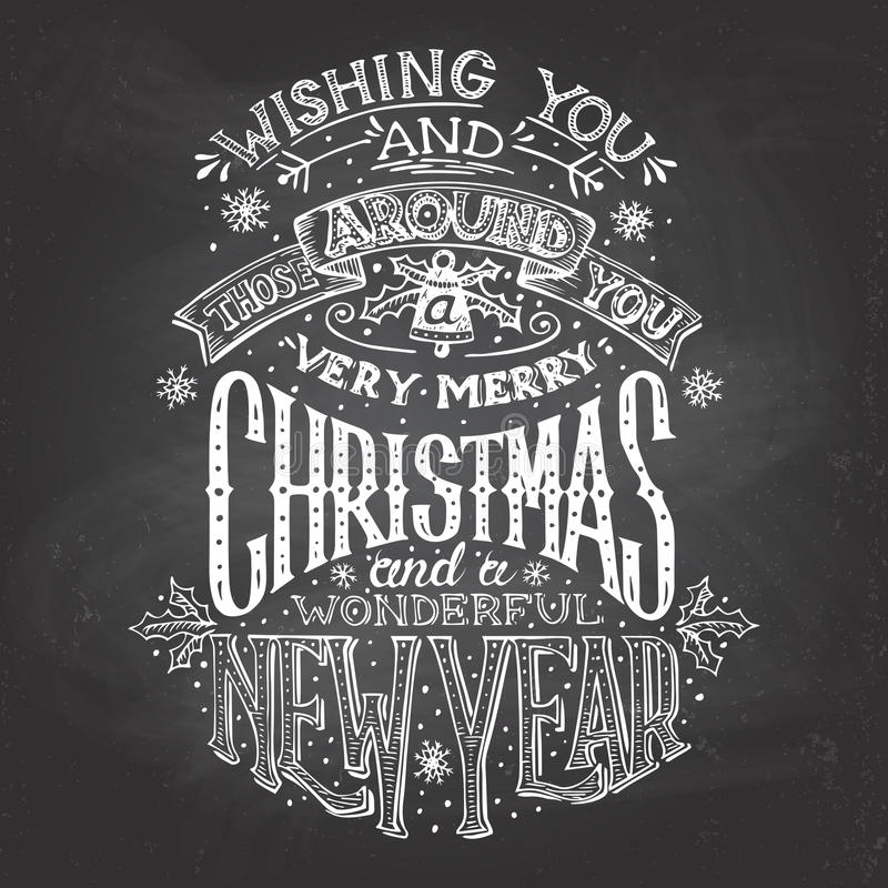 Christmas wishes hand-lettering with chalk stock illustration