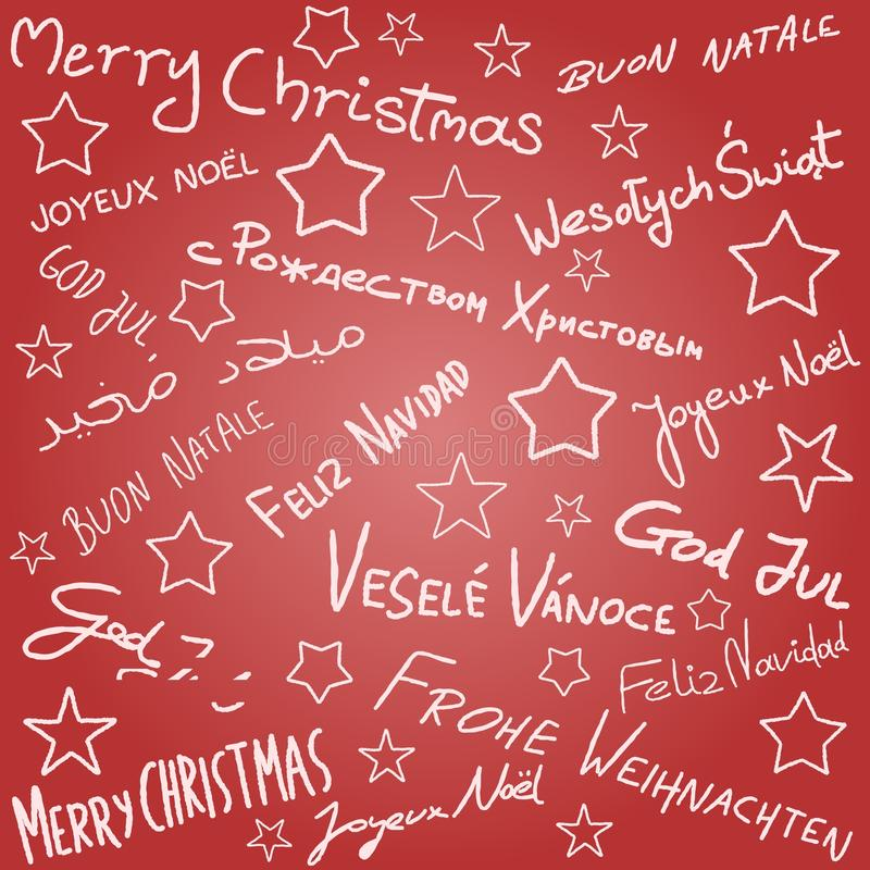 Christmas wishes. Merry Christmas - season wishes doodle in multiple languages. Christmas background stock illustration