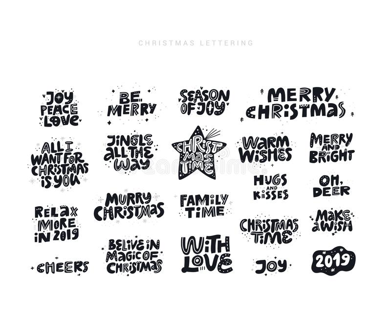 Christmas wishes quotes hand drawn black lettering set stock illustration