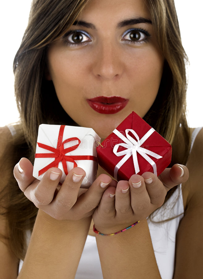 Download Christmas woman stock photo. Image of enjoy, girl, presents - 1647310