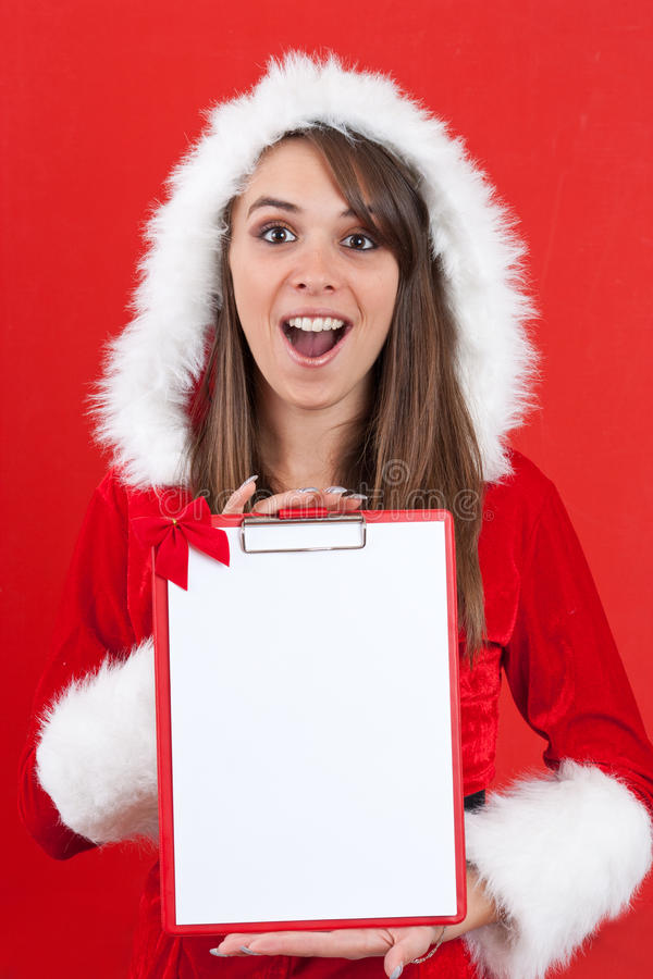 Download Christmas Woman With An Empty Letter Stock Photo - Image: 21925320