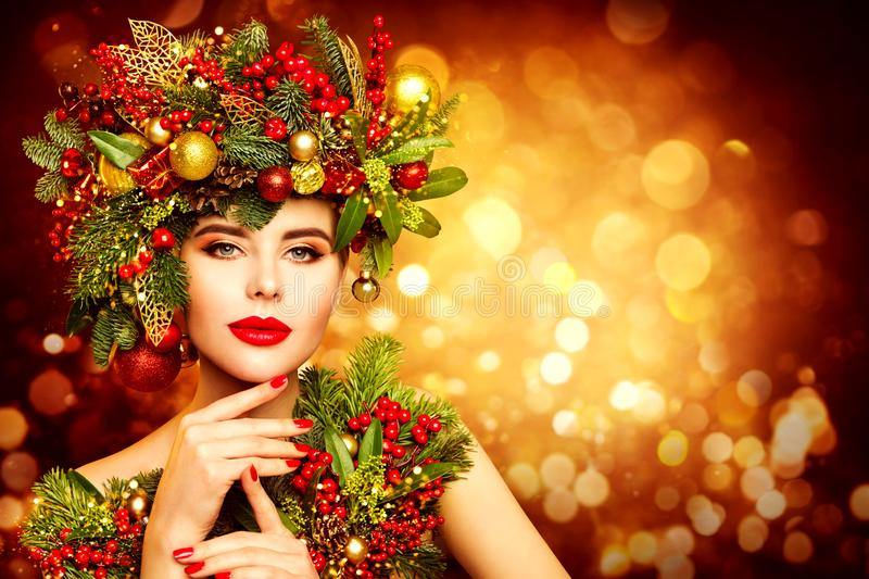 Christmas Woman Face Beauty Makeup, Wreath Hairstyle. Fashion Model Xmas Portrait, Beautiful Girl, Decoration in Hair royalty free stock photos