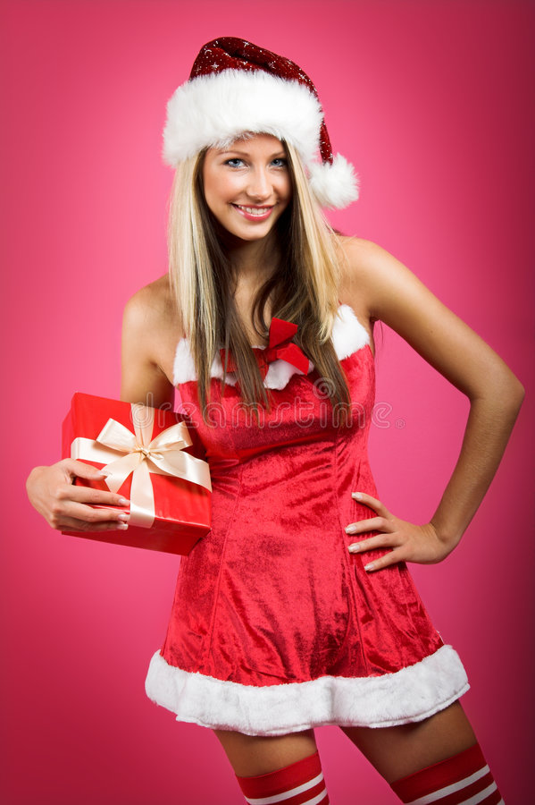 Download Christmas Woman With A Gift Stock Image - Image: 6944919