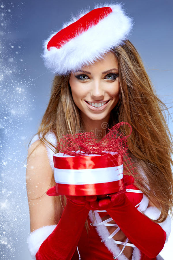 Christmas woman with gifts box royalty free stock image