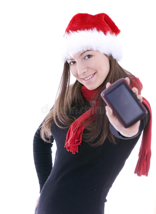 Download Christmas  Woman Keeping Satellite Navigation Stock Photo - Image of electronic, joyful: 14292622