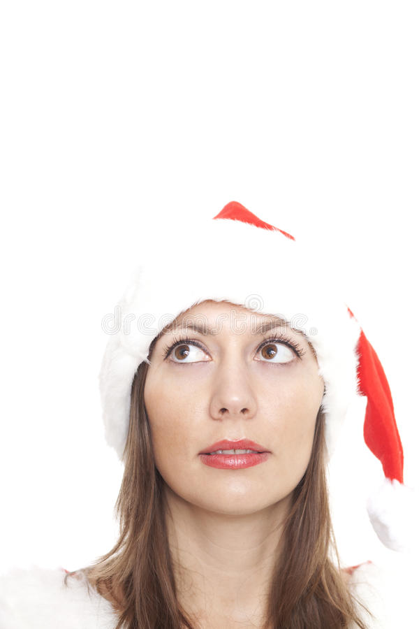 Christmas Woman Looking Up To The Right Royalty Free Stock Photos