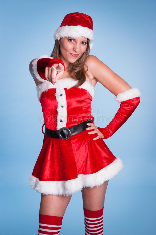 Christmas Woman Pointing royalty free stock photo