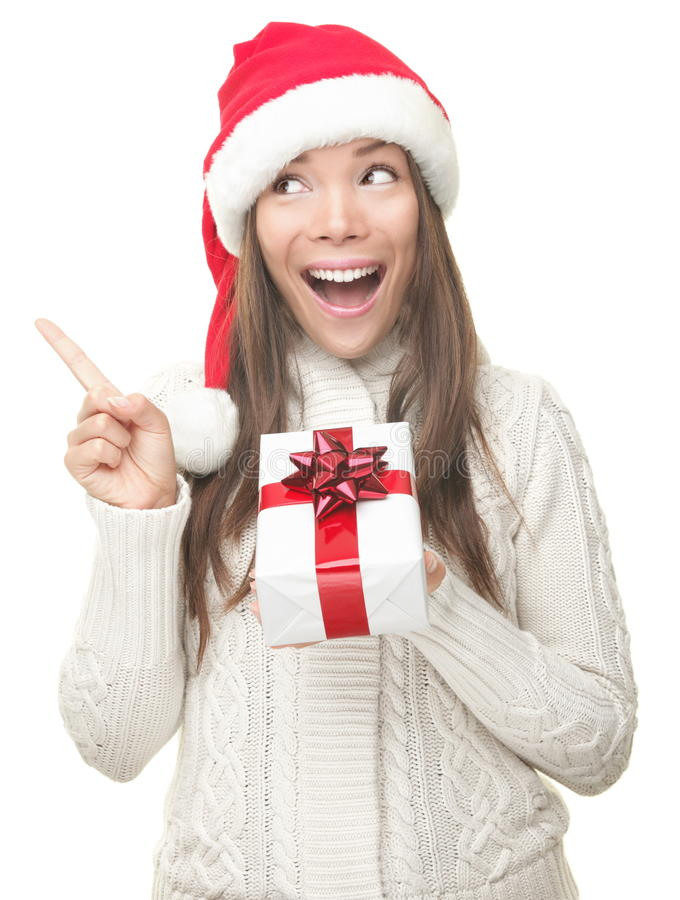 Christmas Woman Pointing Up Stock Photos