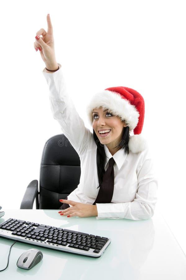 Download Christmas Woman Pointing Upward Stock Photo - Image: 7363022